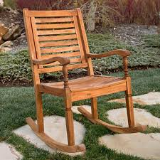 Rocking Patio Chair W Trends Solid Acacia Wood Rocking Patio Chair Brown Bj U0027s