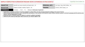 Painters Resume Sample by Fabrication Supervisor Resumes Samples