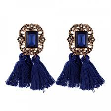 navy blue earrings vintage navy tassel drop statement earrings