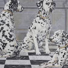 large decorative painting dalmatians black white