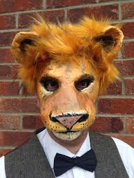 lion mask lion mask paper mache animal mask from mrpolskysmenagerie on