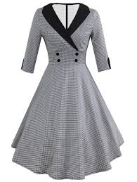 dress pic contrast collar houndstooth circle dress shein sheinside