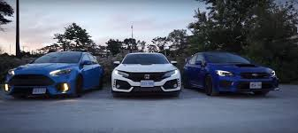 subaru wrx hatch white ford focus rs meets 2018 honda civic type r and 2018 subaru wrx