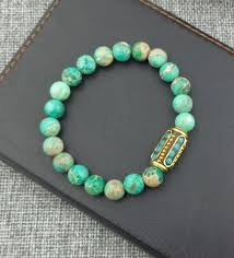 beaded elastic bracelet images Turquoise with nepal beads elastic bracelet the enchanted forest jpg