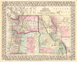 Idaho On Map Map Of Oregon Washington Idaho And Part Of Montana By Mitchell