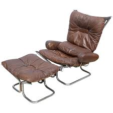 Leather Chair With Ottoman Ingmar Relling For Westnofa Chrome And Leather Chair And Ottoman