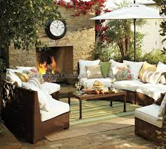 pottery barn patio furniture semi circle sectional resin wicker sofa fco 2083 sunshine