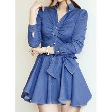 solid color lace up stylish v neck long sleeve women s denim dress