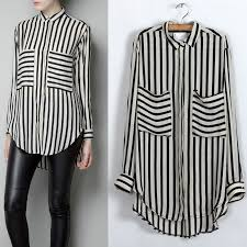 black and white blouse black white vertical stripe sleeve shirt chiffon this look
