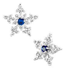 snowflake sapphire blue rhinestone swarovski crystal stud earrings