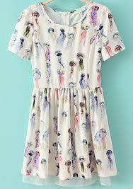 jellyfish dress white sleeve jellyfish print pleated dress abaday
