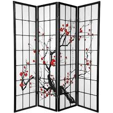 Japanese Screen Room Divider Legacy Decor 4 Panel Plum Blossom Screen Room Divider