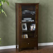 Entertainment Storage Cabinets Brown Stained Teak Wood Narrow Stereo Cabinet With Bookshelf