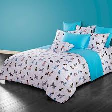 Duvet 100 Cotton Cliab Dog Print Bedding Full 100 Cotton Duvet Cover Set 4 Pieces