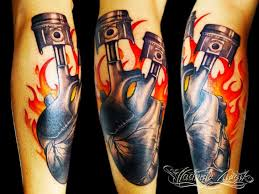 heart piston flame tattoo by tattoo rascal