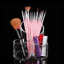 acrylic clear 3 cylindrical holder brush storage makeup cosmetic