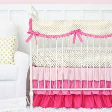 pink and gold dot ruffle crib bedding set by caden lane