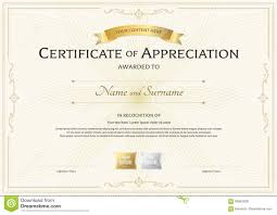 Prize Certificate Template Certificate Of Appreciation Template With Gold Award Ribbon On A