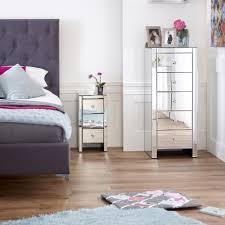 Venetian Mirrored Bedroom Furniture Venetian Mirrored 3 Drawer Slim Narrow Bedside