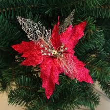 artificial poinsettia flower for tree wreath house
