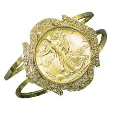 cuff bracelet with gold images Gold layered silver walking liberty half dollar goldtone coin cuff jpg