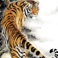 wall decor home murals traditional painting tiger of