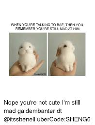 Cute Memes For Him - when youre talking to bae then you remember you re still mad at