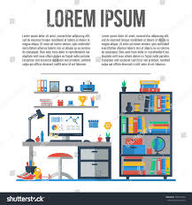 teenager room workplace room interior furniture stock vector