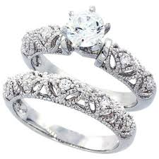 weddings rings silver images Wedding amazon com sterling silver wedding ring set round cz jpg