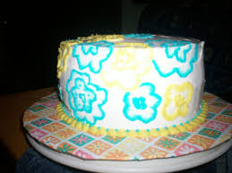 yellow and blue embroidery on whipped cream frosting cakecentral com