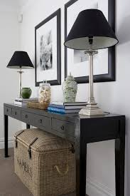 Entry Console Table With Mirror Black And White Foyer With Silver And Gold Sunburst Mirror