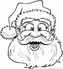 santa claus face with no beard coloring page kids coloring
