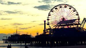 California destination travel images Silhouette ferris wheel dramatic sky sunset santa monica pier jpg