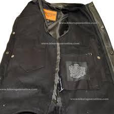 biker safety jackets men u0027s club black denim vest w leather trimming u0026 zipper extreme