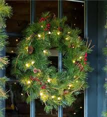 lighted outdoor battery operated wreath with auto timer