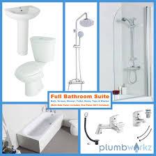 Bathroom Suites With Shower Baths Bath Bathroom Suite Toilet Basin Sink Taps Shower Screen Bath