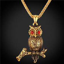 gold animal pendant necklace images U7 vintage women owl necklace 18k gold plated stainless steel jpg
