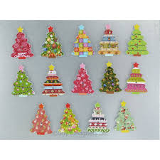 wooden large christmas tree fridge magnets box of 4
