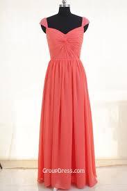 coral pink chiffon modest cap sleeve long bridesmaid dress