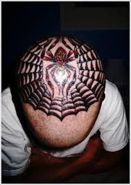 unique spider tattoo design for men on head spider man tattoo