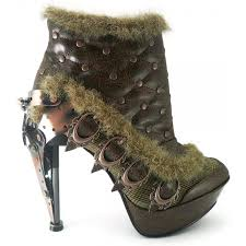 brown steampunk heel studded ankle boot for women by hades footwear