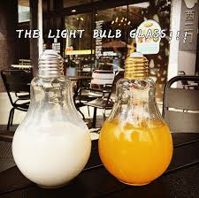 250ml beverage light bulb shape glass juice bottle