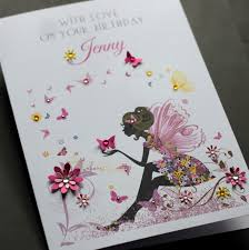 large a5 handmade personalised fairy birthday card sister friend
