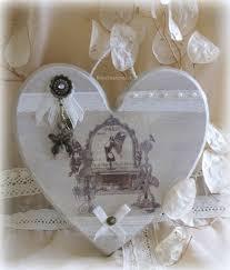Vaisselle Shabby Chic Grand Coeur En Bois Chantourné Illustration Vintage Décorations