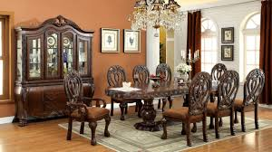 furniture of america elmiraine double pedestal 9 piece cherry