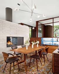 modern dining room fireplace contemporary two sided fireplaces
