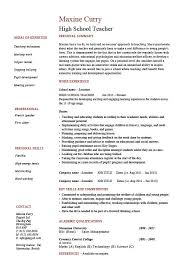 Resume Sample For College by High Teacher Resume Template Example Sample Teaching