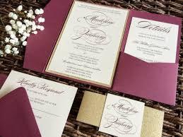 pocket wedding invitations burgundy wedding invitation burgundy and gold glitter pocket