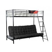 lit mezzanine et canapé clic go mezzanine 90x190cm banquette lit avec futon noir
