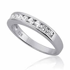 channel set wedding band sterling silver channel set cz stackable wedding